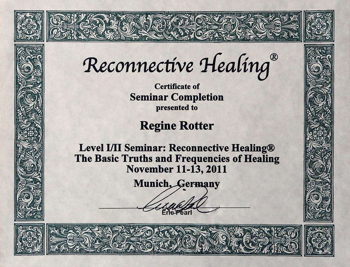 Ursprüngliches Zertifikat zur Qualifikation als Reconnective Healing Practitioner